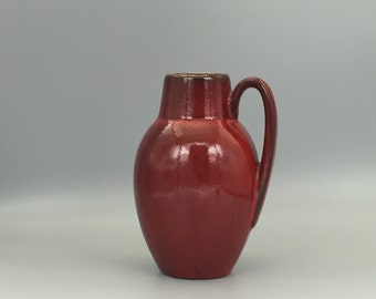 Scheurich Keramik 414  / 16 red Mid Century Modern   handled vase  made in the 1970s . West Germany Pottery. WGP.