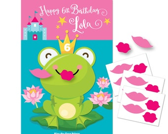 Kiss the Frog- Princess Party game / DIY party game / Princess Party / Pin the Lips on the Frog