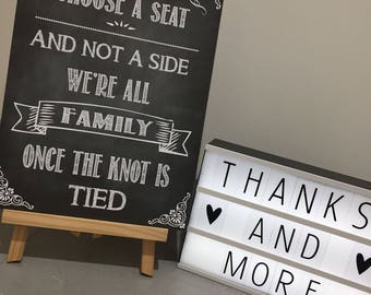 Pick a seat not a side sign for wedding ceremony. Chalk effect ceremony were all family A3 A4 size print