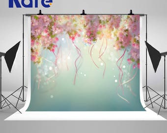 Spring Cherry Blossom Photography Backdrops Light Spot Ribbons Photo Backgrounds for Romatic Wedding Studio Props