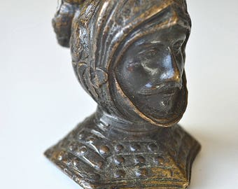 Original antique small bronze bust of a medieval knight in armour Sir Lancelot