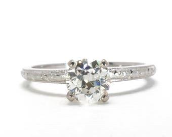 Vintage Engagement Ring | Mid Century | Orange Blossom | White Gold | 18k | 0.72 Carats | Old European Cut Diamond | Item 86817