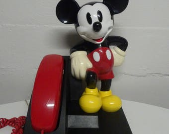 Vintage Walt Disney Mickey Mouse AT&T Push Button Telephone - FREE SHIPPING