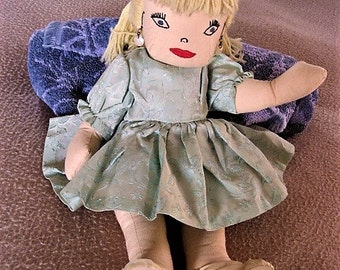 Cute Vintage Handmade Doll w/Embroidered Features