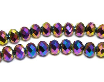 Faceted Glass Briolette Beads, Glass Rondelle Beads 6mm - Metallic Purple Rainbow