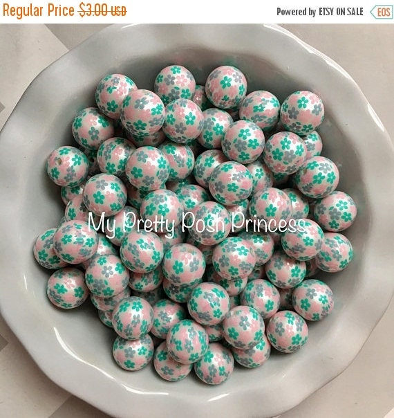 MEMORIAL SALE 20mm Pink & Turquoise Flower Pearls Chunky Bubble Gum Beads Set of 10