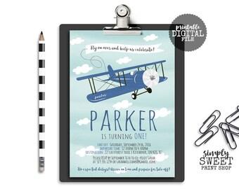 Airplane Pilot Boy Birthday Invite Invitation Clouds Plane Antique Rustic Blue White Cute Unique Vintage Fun Fly Away Sky Aeroplane Navy 1st