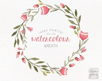 Watercolor wreath: 1 PNG floral wreath clipart / Wedding invitation clip art / commercial use / wedding floral wreath / pink / CM0059b