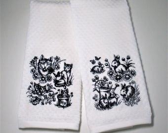 "Garden Towel, Cat Dish Towel, Gift For Gardener, Cat Lover, Hostess, Mother's Day, Spring Decor, Birthday, Rabbit  ""Garden Sketch"""