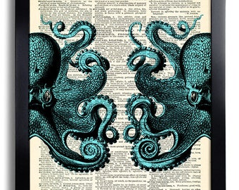 octopus wall decal etsy. Black Bedroom Furniture Sets. Home Design Ideas