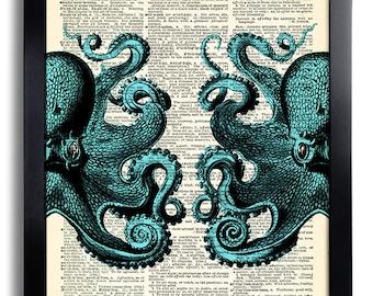 Blue Octopus Art Print  on Vintage Dictionary Paper, Sea Art Print, Bathroom Wall Decor, Beach Home Art Print, Bathroom Decoration Art 148