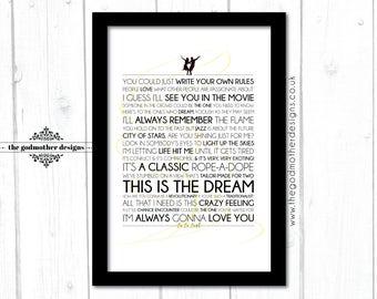 La La Land - Movie Musical - Quotes & Words Typography - PRINT