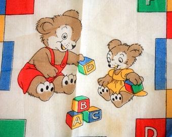 Vintage Children's Handkerchief,  Children's Hanky, vintage Bears with ABC Blocks , vintage handkerchief, vintage hanky