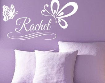 Custom Name Butterfly Vinyl Decal Girl