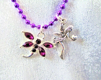 Fairy Necklace,Purple Dragonfly Fairy Necklace