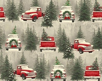 Red Truck Scenic Holiday Fabric Yardage. Holiday Traditions Henry Glass. Vintage Red Truck Fabric. Christmas Truck Fabric. Christmas Fabric.
