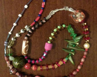 Wooden carved bead, coral, green and gold glad tiny silver hearts, beautiful Boho necklace... Red And gold wood, light rose
