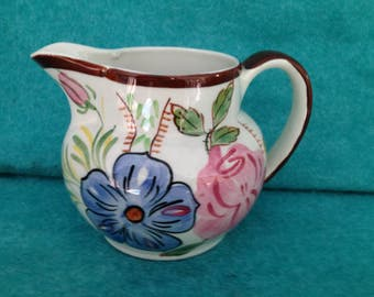 Blue Ridge Southern Potteries Anne Pitcher With Rose and Pansy Antique Shape
