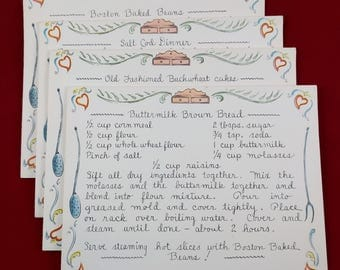Vintage Blank Greeting Recipe Cards Combination, Set of 14, White Recipe Note Cards. Cookies, Bread, Cake, Beans, Cod. Kitschy Recipe Cards