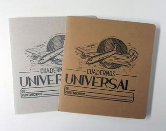 "Vintage Looking ""Cuadernos Universal"" Hand-Printed, Hand-Stitched Cahier Style Notebook"