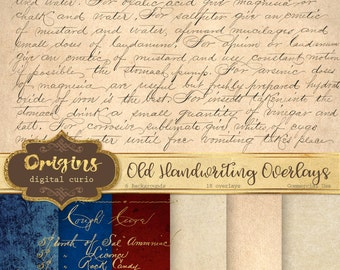 Old Handwriting Overlays, Digital Vintage Letters PNG overlay clipart and old paper backgrounds digital paper, decoupage, scrapbooking