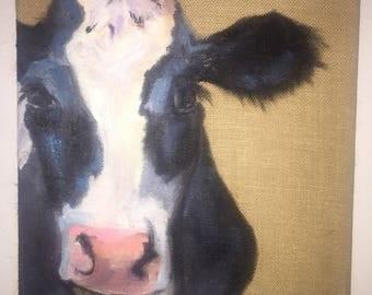 "Ms Daisy Mae - 12x12"" oil painting on burlap"