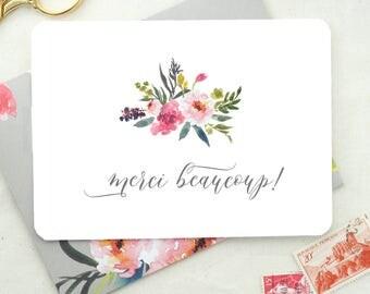 Thank You Card Set. Merci Beaucoup Card. Floral Card Bridal Shower Thank You Cards Baby Shower Cards Card Set of 10 Blank Note Cards Floral