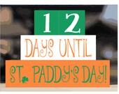 St. Patrick's Day Countdown Blocks - Shamrock Wood Blocks Stack - Decor Gift Present Office