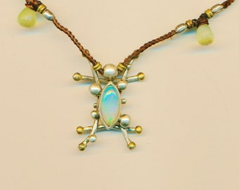 Opal, Prenite and Blue Topaz handcrafted 9 25 sterling silver pendent