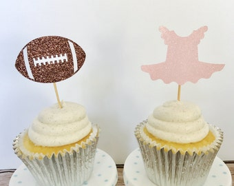 Tutus or touchdowns Cupcake Toppers/ Gender Reveal Cupcake toppers/ Tutus or touchdowns gender reveal party/ set of 12