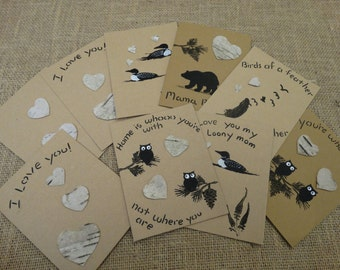 Set of 3 Birch bark greeting cards,Owl loon bear and love theme cards,Valentine's Day card,anniversary cards,special occasion cards