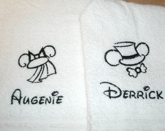 Mickey and Minnie  Wedding Ears Sketch Personalized His Hers Bath Towels Set