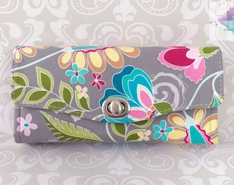 Gray Flowers Necessary Clutch Wallet