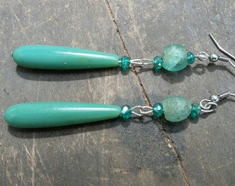African earrings, recycled glass, handmade beads, Fair Trade jewelry, handmade jewelry