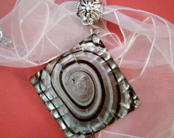 Black and white square glass pendant