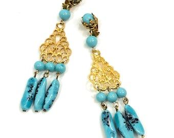 Gold & Blue Dangle Earrings, Long Blue Chandelier Earrings, Mottled Blue Dangles, Gold Filigree, Boho / Summer Jewelry, Vintage Jewelry