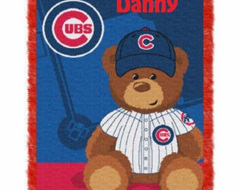 MLB Chicago CUBS Field Baby Bear Throw Blanket - Personalized