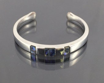 Sterling Silver Cuff Bracelet with Gorgeous Inlaid Iolite