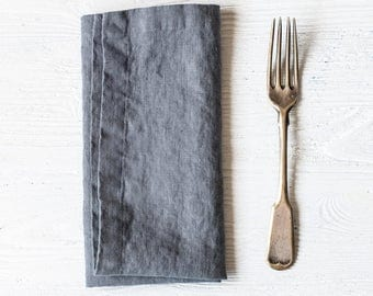 Washed large linen napkins / Set of 4, 6, 8 or 12 washed handmade linen napkins in dark grey/graphite