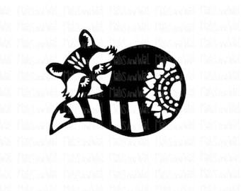Raccoon folk style svg/png/dxf /Silhouette/Cricut digital cutting file /folk style raccoon/woodland svg/raccoon svg/folk style racooon/HTV