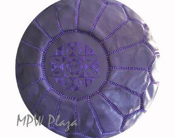 Sale-Purple Moroccan Leather Pouf / Ottoman