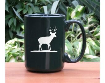 Deer Coffee Mug / 15 oz Stag Coffee Mug / Animal Large Tea Cup / Ceramic Coffee Mug / Hot Chocolate Mug / Wildlife Coffee Mug