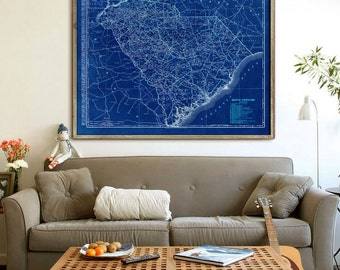 "South Carolina map 1900, Vintage South Carolina map, SC map poster in 4 sizes up to 48x36"" in beige or blue - Limited Edition of 100"