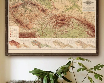 "Map of Czechoslovakia 1927, Vintage Czechoslovakia map 5 sizes up to 54x36"" 140x90cm Czech Slovakia also in blue - Limited Edition of 100"