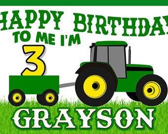 Tractor Birthday Banner (Happy Birthday to Me)