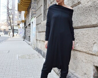 Drop Crotch Jumpsuit, Black Jumpsuit, Harem Jumpsuit, Women Jumpsuit, Sleeved Jumpsuit, Party Jumpsuit, Loose Jumpsuit by CARAMELfs SW6815
