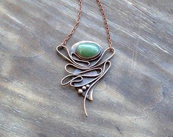 Green aventurine asymmetry pendant, copper artisan jewelry