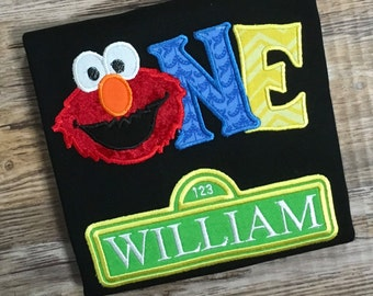 ONE Birthday Shirt Personalized Embroidered Elmo Birthday Shirt One 1st Birthday Shirt or Bodysuit.  - Boy or Girl