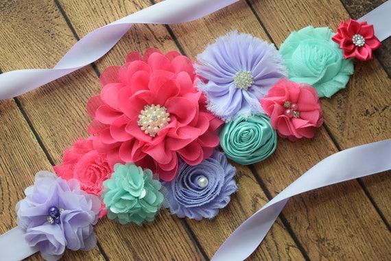 Maternity sash belt, aqua violet and hot pink Sash , sash,  flower Belt, maternity sash, baby shower gift