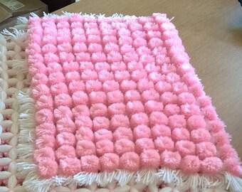 Baby Pink And White Pompom Pram/Stroller Woollen Handmade Blanket